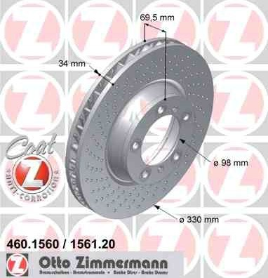 Bremsscheibe Vorderachse RECHTS Coat Z für Porsche 911 996 997 460156120